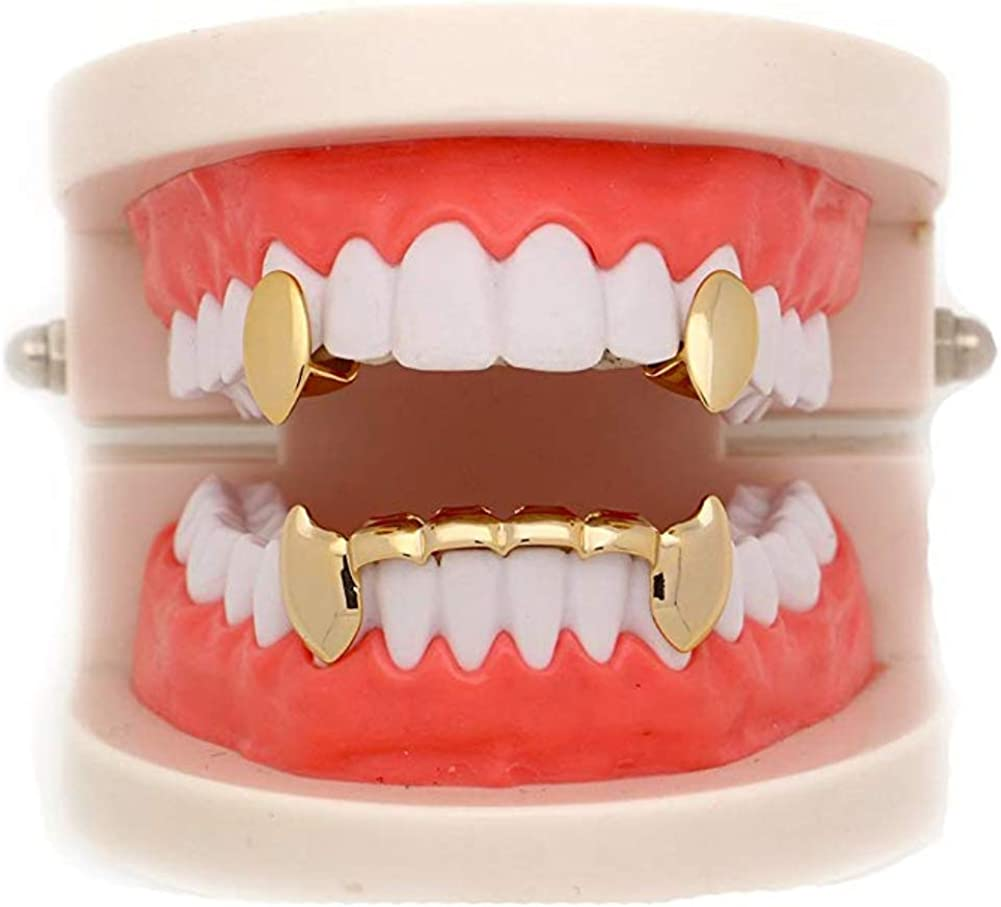 mainlead 14k Gold Plated for Mouth Top Bottom Grills Hip Hop Teeth Set