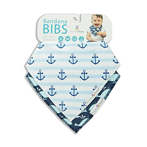 2 Pack Baby Bandana Drool Bibs by Primo Passi I Best Teething and Drooling Absorbent Cotton I Nickle Free adjustable Snap I Baby Boys I Blue I Navy I Anchor I Whale