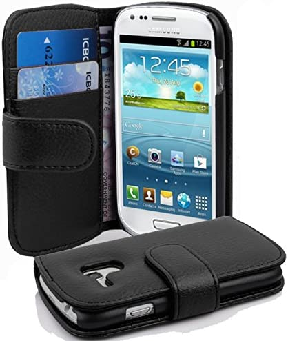 Cadorabo Coque pour Samsung Galaxy S3 Mini en Noir DE Jais - Housse Protection en Similicuir Structuré avec Stand Horizontal et Fente Carte - ...