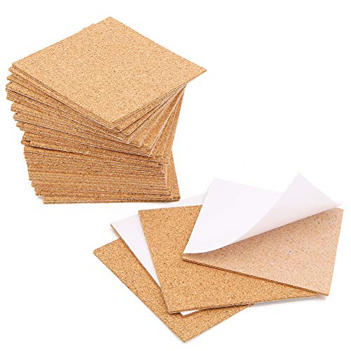 40 Pcs Square Self-Adhesive Cork Sheets,4