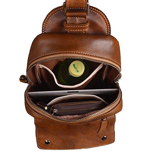 Genda 2Archer El bolso Ocasional del Tacolla del Cuero Genuino de la vendimia se Divierte el Bolso de la Honda Para los Hombres (21cm * 7cm * 23cm) (Marrón) Marrón