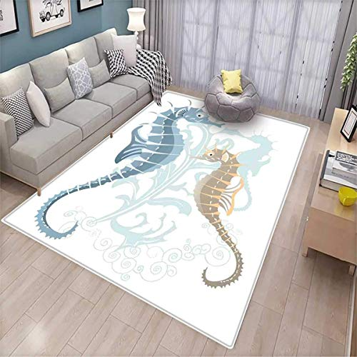 Animal Customize Door mats for Home Mat Pair of Little and Big Fishes in Soft Colors Featured Design Tropical Creatures Door Mat Outside Blue Cream