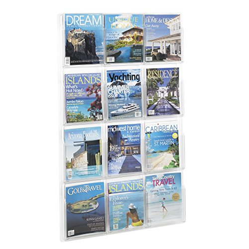 Safco Products Reveal 12 Magazine Display, 5602CL, Wall Mountable, Thermoformed Plastic Resin Construction, No Sharp Edges or Corners