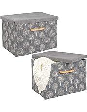 mDesign Opbergbox - kledingkastorganizer - voor slaapkamers en thuis - stapelbaar/met deksel en handvatten - per 2 stuks verpakt