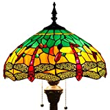 Tiffany Style Floor Standing Lamp 64 Inch Tall Green Yellow Stained Glass Shade Crystal Bead Dragonfly 2 Light Pull Chain