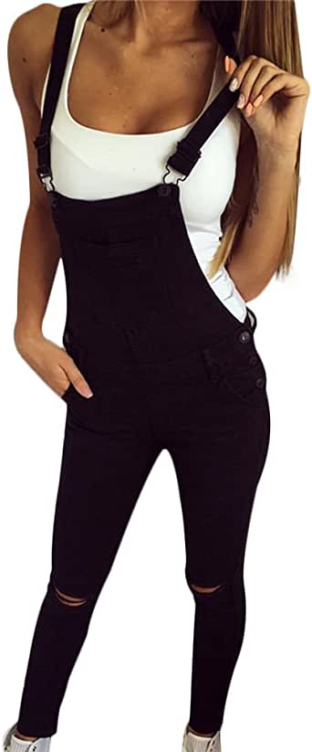 Abetteric Womens Pants Flare Pinstripe Fitness Skinny Bodycon Overalls