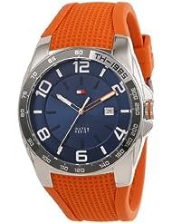Tommy Hilfiger Mens 1790883 Sport Stainless Steel Bezel Orange Silicon Strap Watch