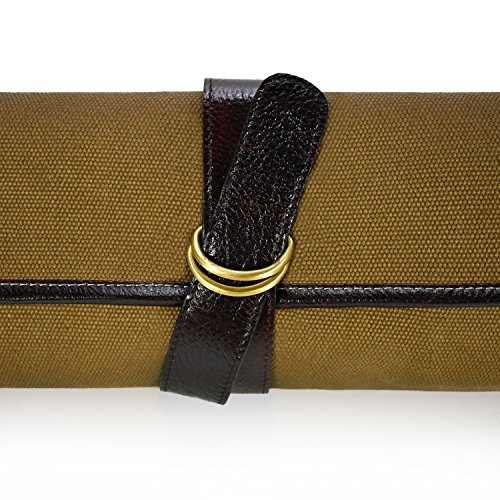 Boldric Cotton Canvas DD Hook Tie Chef Knife Bag – Professional Canvas Travel Roll Carrier Case With Water Buffalo Hide Trim - 7 Tool Holder Slots For Knives Pens Pencils Spoons (Khaki) by Boldric (Image #3)