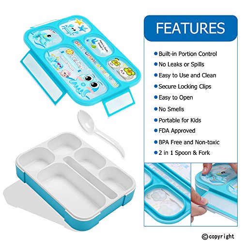 Leakproof Bento Lunch Box for Kids, FIOLOM 5 Compartments Divided Lunch Container Set with Spoon & Fork Cute Microwave Safe Meal Prep Box for Boys Girls Children School by FIOLOM (Image #3)