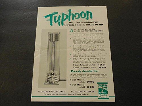 Vintage Ad Typhoon Motor Driven Bilge Pump Sudbury Laboratory