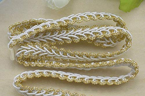 - ZHONGJIUYUAN 10 Yards Braided French Gimp Trim Ribbon DIY Accessory Wavy Webbing Garments Hair Decorations Lace Stiching Tape Trimming - Gold&White Color