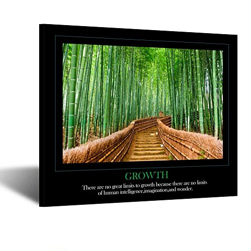 Kreative Arts Motivational Self Positive Office Quotes Inspirational Bamboo Growth Poster Canvas Prints Wall Art for Walls Decoration 20x24inch (Growth)