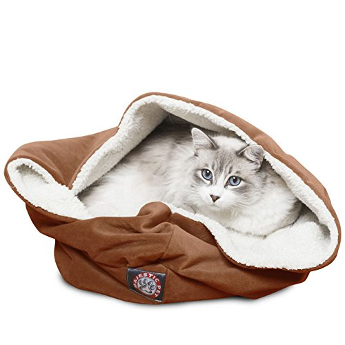 17 inch Rust Suede Burrow Cat Bed