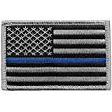 US Flag Thin Blue Line Patch for Police and Law Enforcement with Hook/Loop Backing (3.5x2.25 in.)