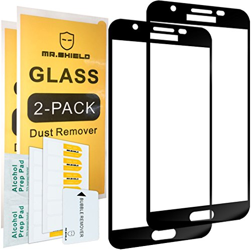 [2-Pack]-Mr.Shield for Samsung Galaxy J7V / J7 V (Only 2017 Version) [Will Not Fit for 2015 and 2016 Version] [Tempered Glass] [Full Cover] [Black] Screen Protector with Lifetime Replacement