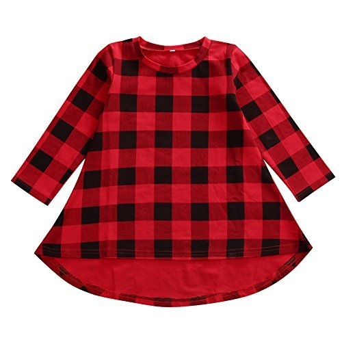 Bamboogrow Lovely Baby Kids Girl Dress Plaids Checked Party Princess Formal Dresses Tutu (1-2Years)