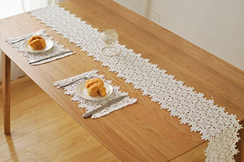 Bonaweite Kitchen Cream Floral Lace Table Runner Linens And Dresser Scarf 9  X 78