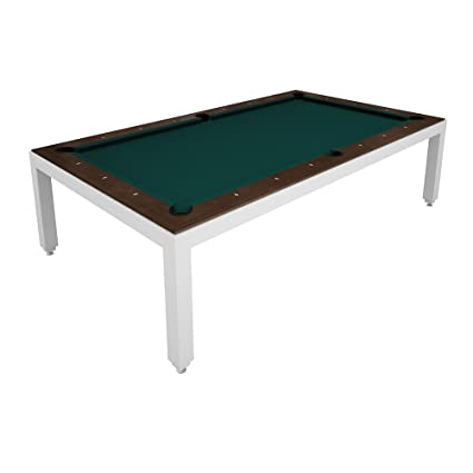 Charmant Aramith White Powder Coated Fusion Pool Table   Wood Top