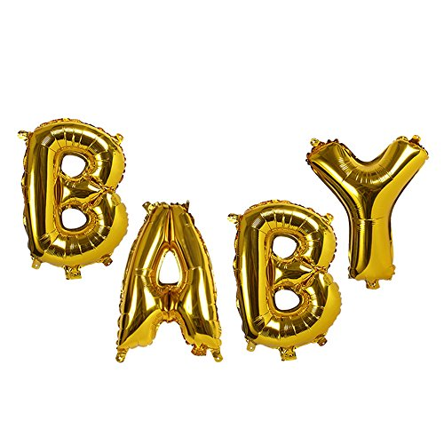 Treasures Gifted 40 Inch Baby Gold Letters Balloons Mylar Foil Party Supplies Shiny Inflatable Alphabet Gender Neutral Reveal Shower Jumbo Giant Announcement Ornaments -
