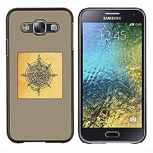 TECHCASE---Cubierta de la caja de protección para la piel dura ** Samsung Galaxy E5 E500 ** --amarilla escudo de Viking dibujo negro marrón