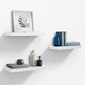 "AHDECOR White Floating Wall Mounted Shelves, Set of 3 Display Ledge Shelves Wide Panel for Bedroom Office Kitchen Living Room, 5.9"" Deep"