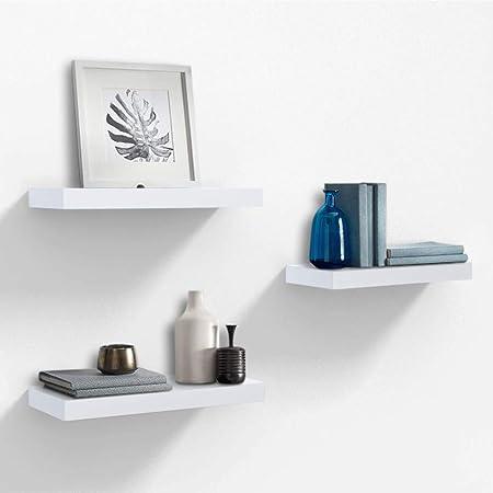 AHDECOR Estantería para Pared Juego de 3 estantes para Libros CDs Estanterías de Pared,38 x 15 x 3.2cm,Blanco: Amazon.es: Hogar