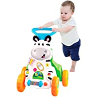 Jukkre Sit-to-Stand Learning Walker, 2-in-1 Activity Baby Walker Stroller, Seated or Walk-Behind, Game Car Dining Car (Multi Color)