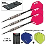 TRACERS 80% TUNGSTEN STEEL DARTS SET - 24 Gram - Winmau Rhino Pink Flights, Black Laser Etched Aluminium Shafts, Case & Red Dragon Checkout Card