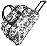 French Toile Rolling Wheeled Duffle Bag 21-inch
