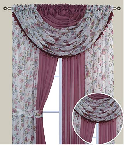 (Elegant Home Complete Window Sheer Curtain All-in-One Set with 4 Panels and 2 Valances and Two Tiebacks for Living Room, Dining Room, Or Any Other Windows- Laura (Burgundy Flower/Pink Solid))
