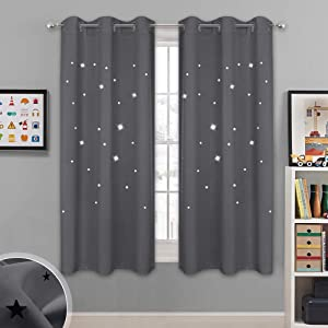 "NICETOWN Blackout Star Curtains for Kids - Hollow Out Star Shaped Room Darkening Window Drapes for Space Themed/Nursery/Boys Room Decor (2 Panels, 42"" Wide x 63"" Long, Grey)"