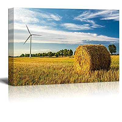Canvas Prints Wall Art - Beautiful Scenery of Windmill on The Field in Autumn | Modern Wall Decor/Home Art Stretched Gallery Canvas Wraps Giclee Print & Ready to Hang - 24