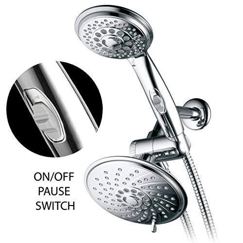 HotelSpa 6''/4'' Shower-Head/Handheld Shower Spiral Combo w/Patented ON/OFF Pause Switch and 5-7 foot Stretchable Stainless Steel Hose (Premium Chrome)