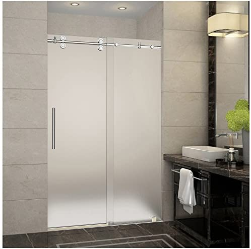 Aston Langham 44 to 48 x 75 Completely Frameless Sliding Shower Door in Frosted Glass, Polished Chrome
