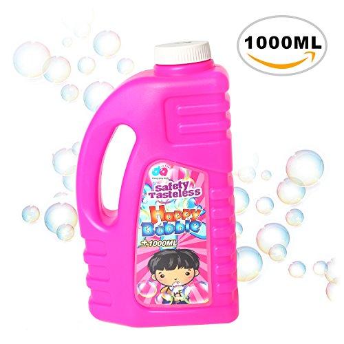 rainbow yuango 1000ML Safety Tasteless Big Bubbles Solution Refill 34 Ounces Gazillion Bubble Bottle Replacement Non-Toxic Premium Soap Bubble Liquid Refill Bubble Juice(Pink)