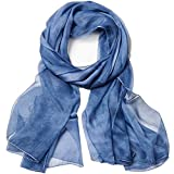 Women Spring Summer Chiffon Solid Scarf Beach Towel Sunscreen Shawls and Wraps Dark Blue