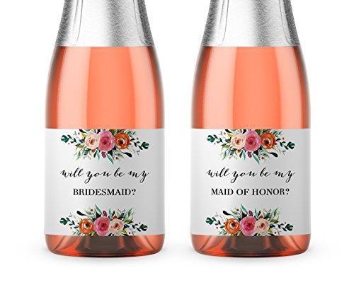 Bridesmaid Proposal ● SET of 8 ● Bridesmaid Mini Champagne Labels, Bridesmaid Ask, Wedding Wine Labels, Maid of Honor Ask, Matron of Honor Proposal, Floral Bridal Party Ask, WEATHERPROOF, M100-ASK-8 (Mini Le Wine)