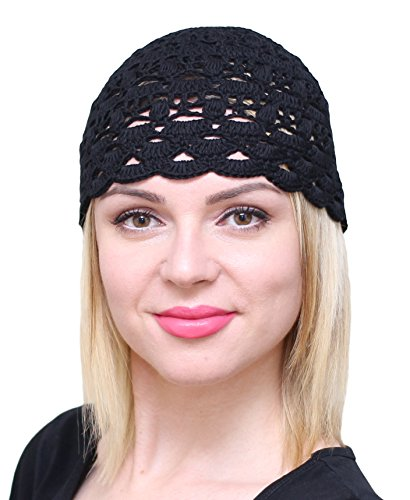 NFB Fascinator Hats for Women Ladies Summer Beanie Cotton Cloche Crochet caps (Black)