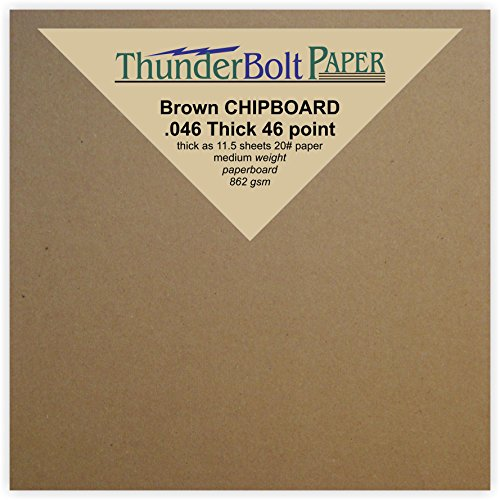 1200 Sheets Chipboard 46pt (point) 4 X 4 Inches Heavy Weight Scrapbook Square Size .046 Caliper Thick Cardboard Craft|Packing Brown Kraft Paper Board by ThunderBolt Paper