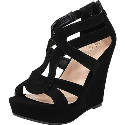 Cambridge Select Women's Open Toe Strappy Platform Wedge Heel Sandal: Shoes
