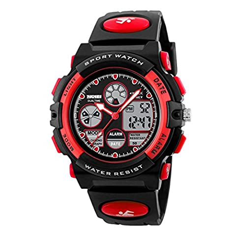 Kids Sports Watch Dual Time Water Resistant Wrist Watch Chrono Alarm EL Light Red (Chrono Watch Sport)