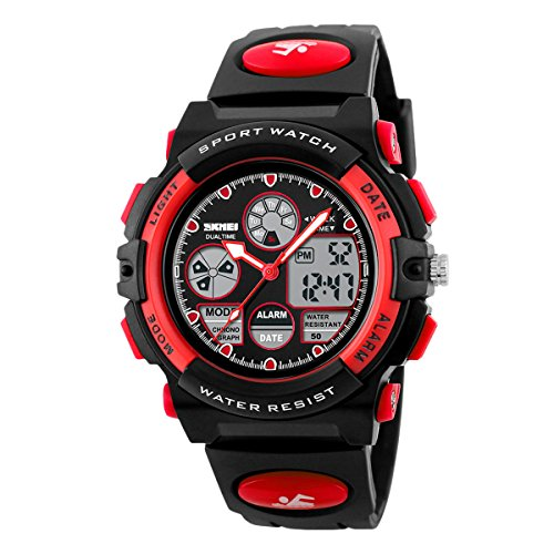 Sports Boy Digital LED Quartz Alarm Date Wrist Watch Waterproof Red - 2