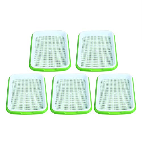 Homend Seed Sprouter Tray, 5 Pack Seed Germination Tray BPA Free Nursery Tray for Seedling Planting Great for for Garden Home Office -