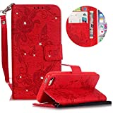 Leather Case for iPhone 5S/SE Butterfly Flower Pattern Girls Women Cover, MOIKY Luxury Glitter Sparkle Shiny Bling Rhinestone Magnetic Closure Wallet Pockets Credit Card Holder Flip Stand Cover Case For iPhone 5S/SE - Red
