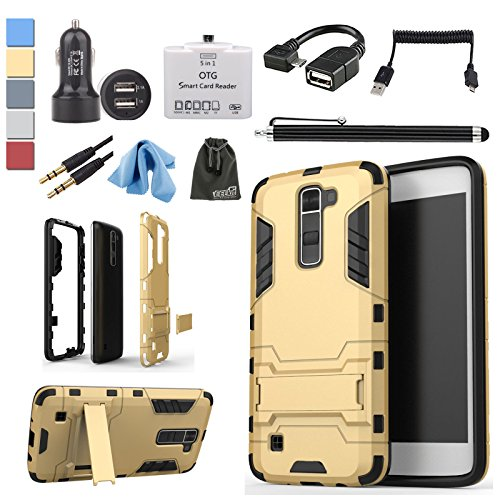 UPC 743062965350, EEEKit 6in1 Starter Kit for LG K7 Tribute 5, Dual Layer Protective Stand Case, Car Charger, Micro USB OTG Card Reader/Cable and Accessories Bundle (Gold)