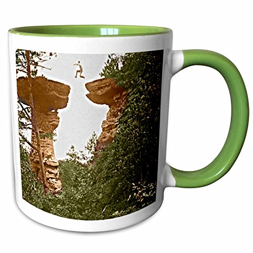3dRose Sandy Mertens Wisconsin - Vintage 1899 Wisconsin Dells Stand Rock - 11oz Two-Tone Green Mug - Wisconsin Outlet Dells
