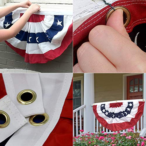 ️ Yu2d ❤️❤️ ️3PC American Pleated Fan Flag USA American Bunting Decoration Logo Print Patriotic Stars and Stripes with Canvas Title -