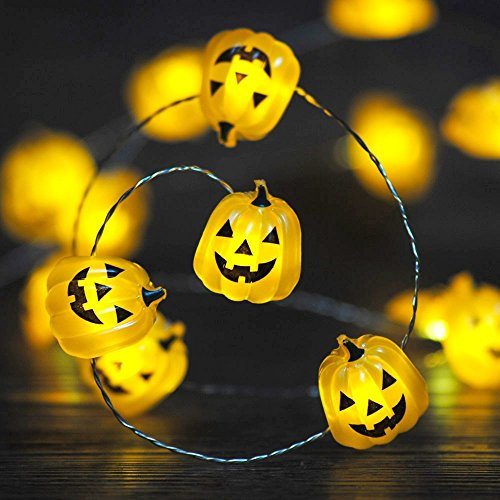 Impress Life Halloween Costume Party Decorations Jack O Lantern Pumpkin String lights, Funny Face 10ft 40 LEDs Battery Operated with Dimmer, Flicker Remote for Front Porch, Trick or Treat (Amber Sweet Costume)