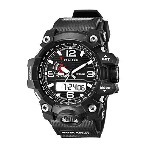 Advanced Chronograph Timer (Alike AK15116 New Arrival Unisex Luxury Fashion Sport Watch Dual Time Shows Multi Function Quartz Digital Alarm Timer Black Rubber Strap Waterproof Wristwatches (white))
