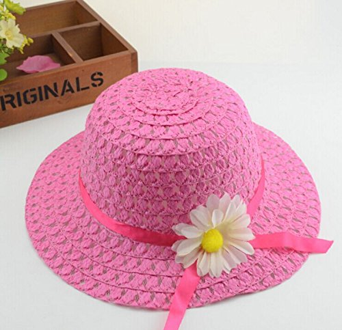 NEW 9 Pcs, Assorted Colors Girls Sunflower Straw Tea Party Hat Set
